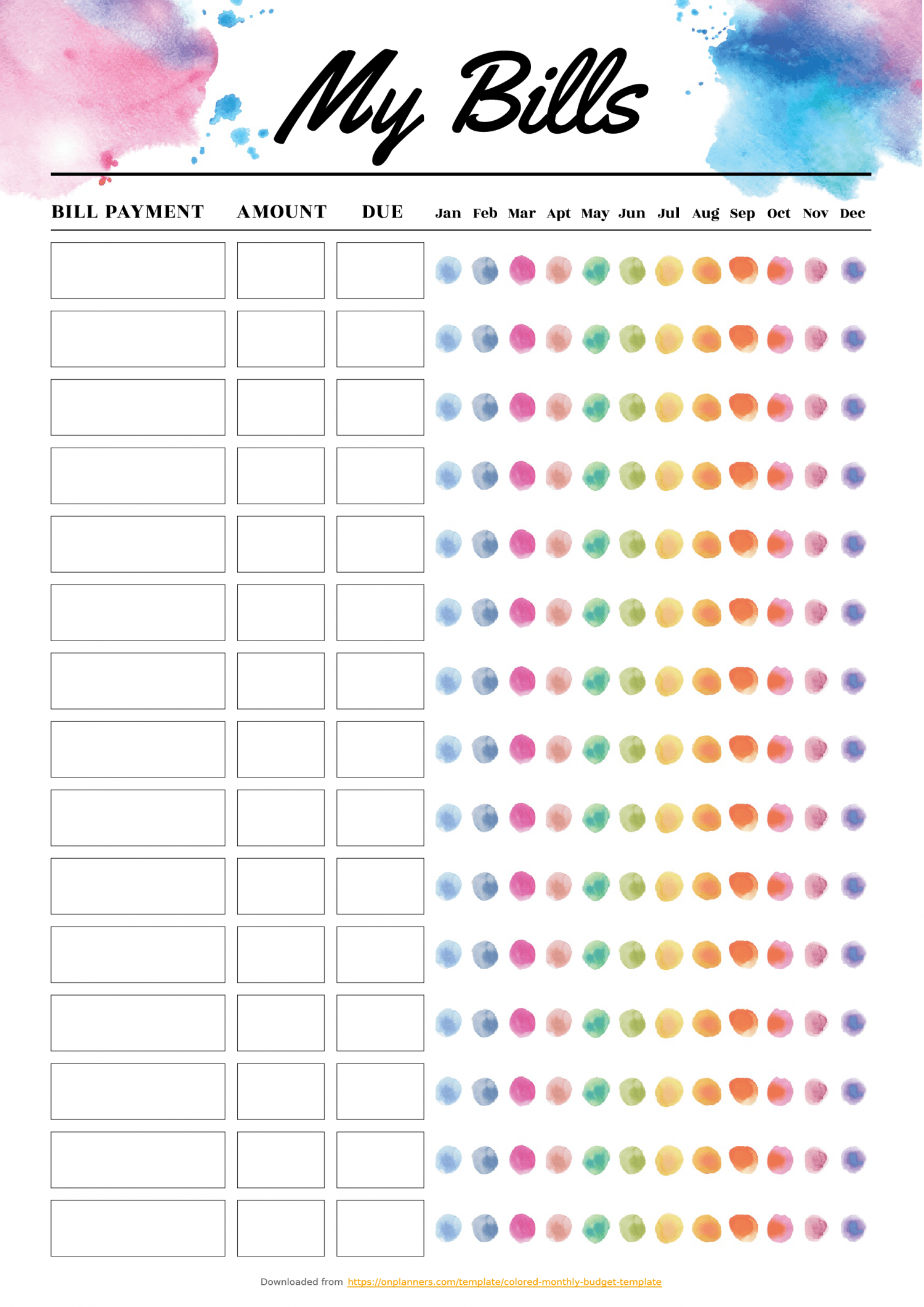 Free Printable Colored Monthly Budget Template Download