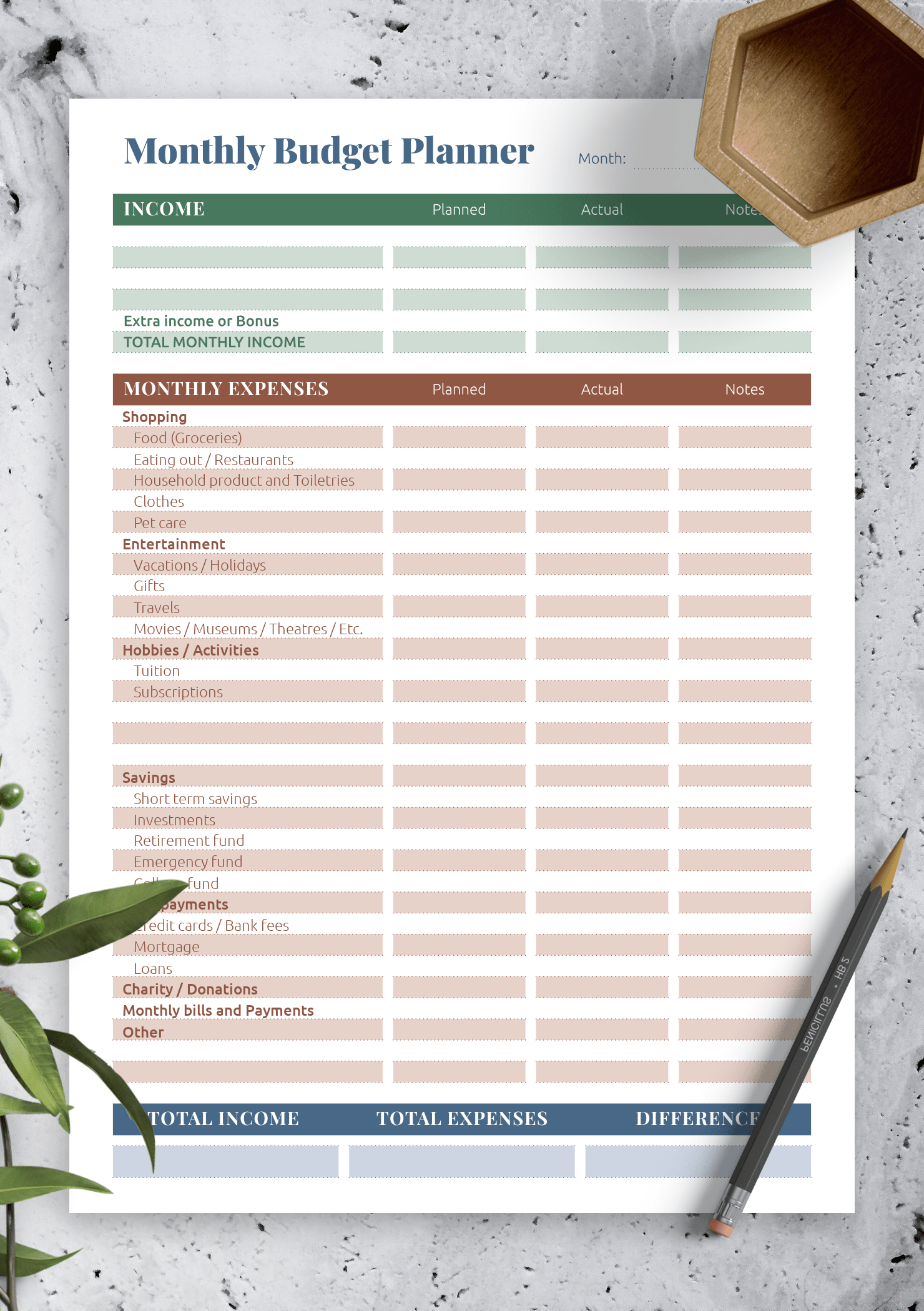 Download Printable Complex Budget Planner
