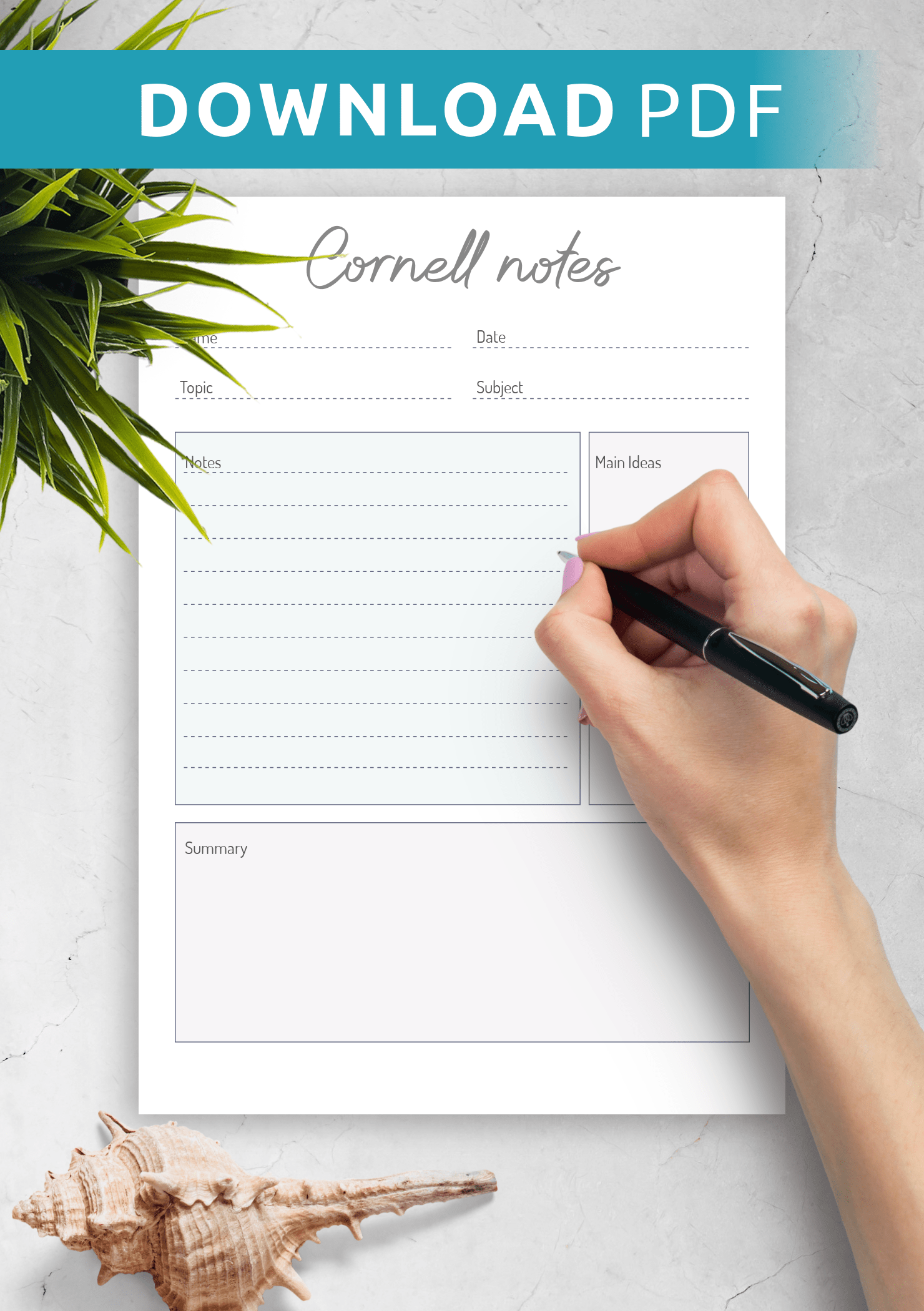 This pale grey grid paper is perfect for taking notes with diagrams or graphs. Download Printable Cornell Method Note Taking Template Pdf