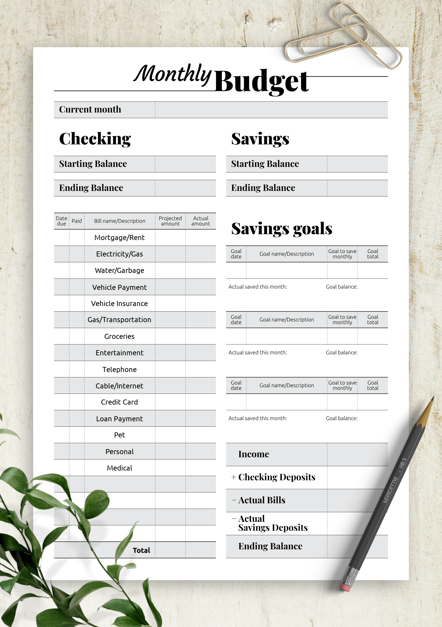 Download Printable Goal Oriented Budget Template