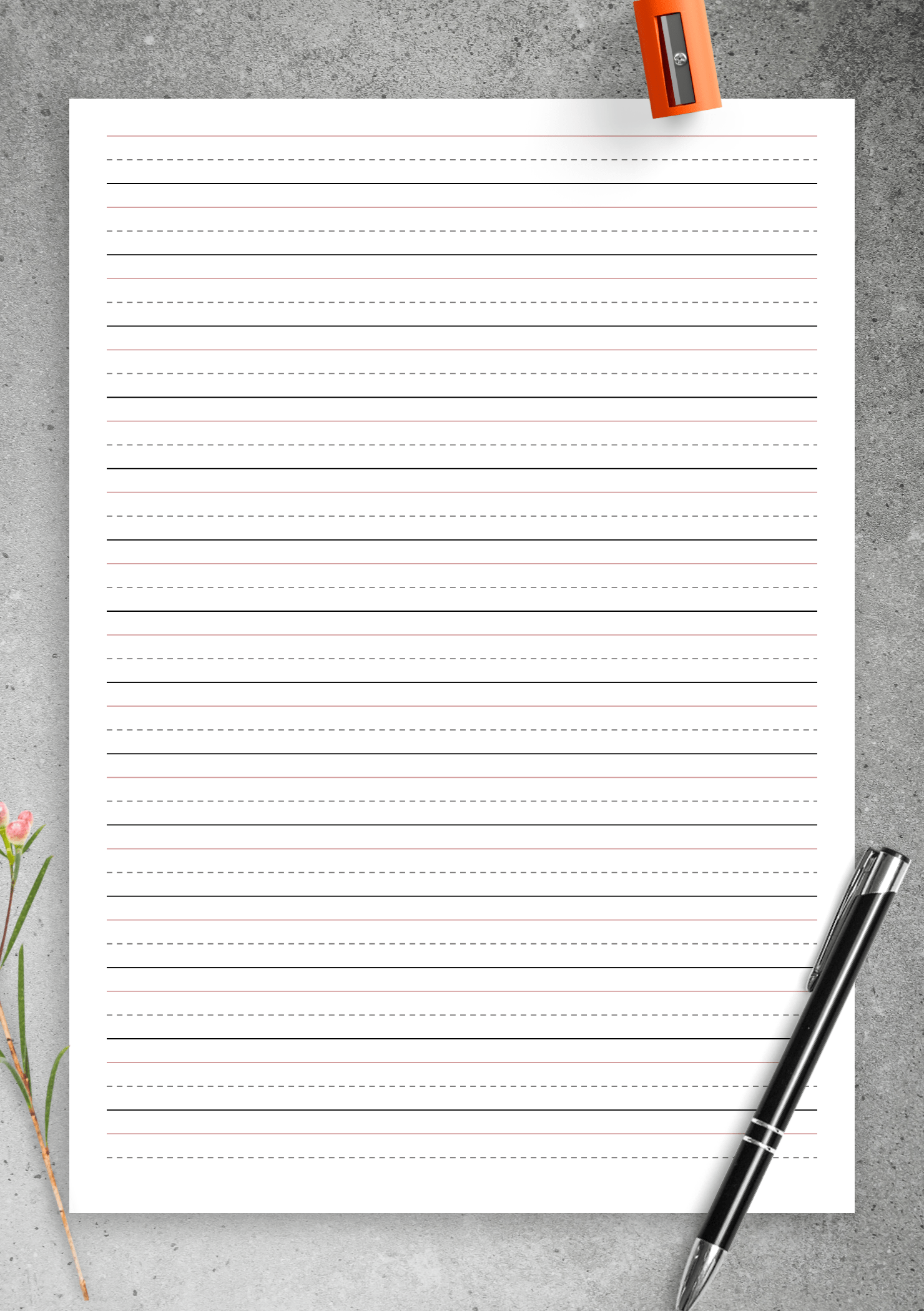 Download Printable Half Inch Rule Handwriting Paper