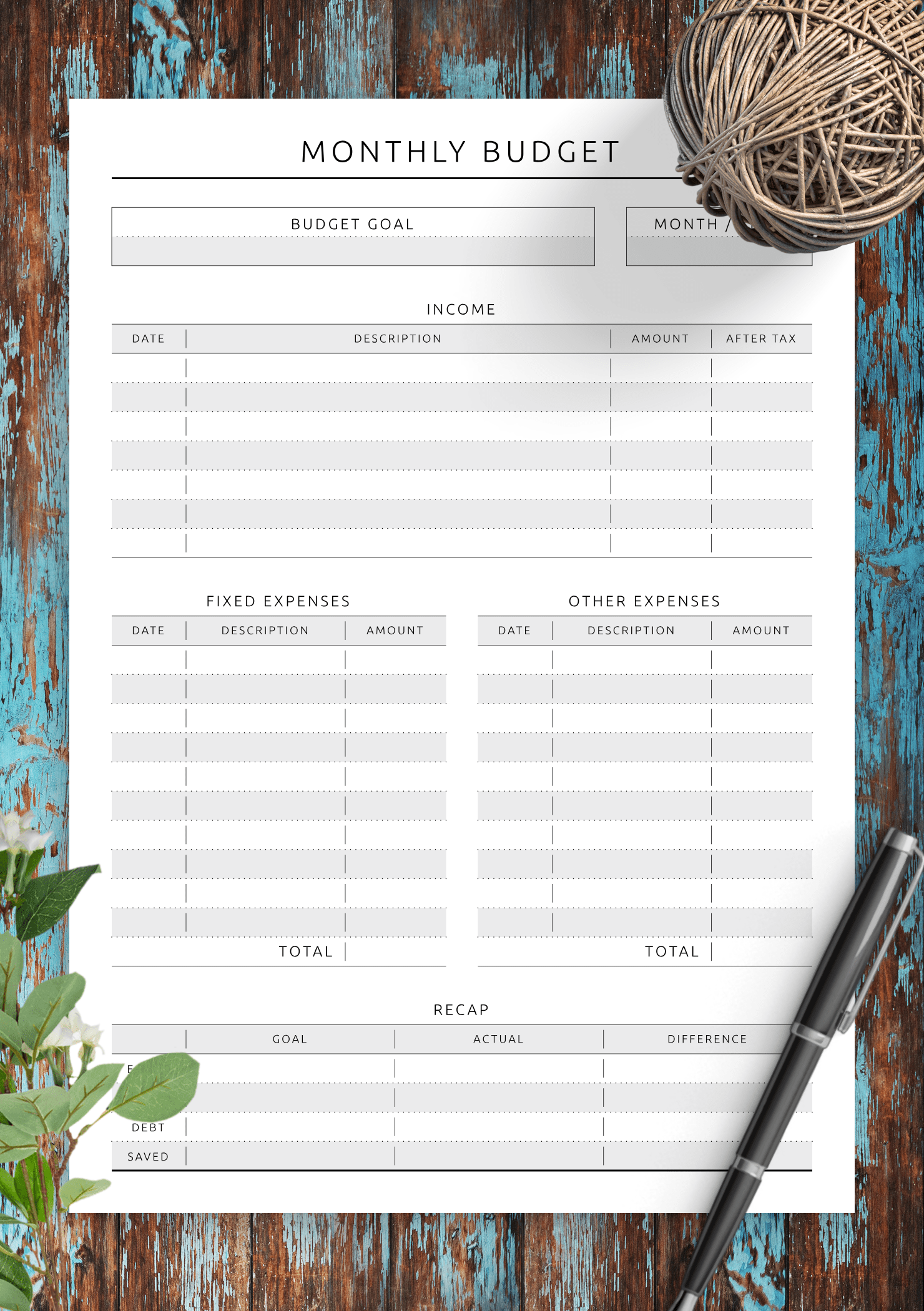 Download Printable Monthly Budget