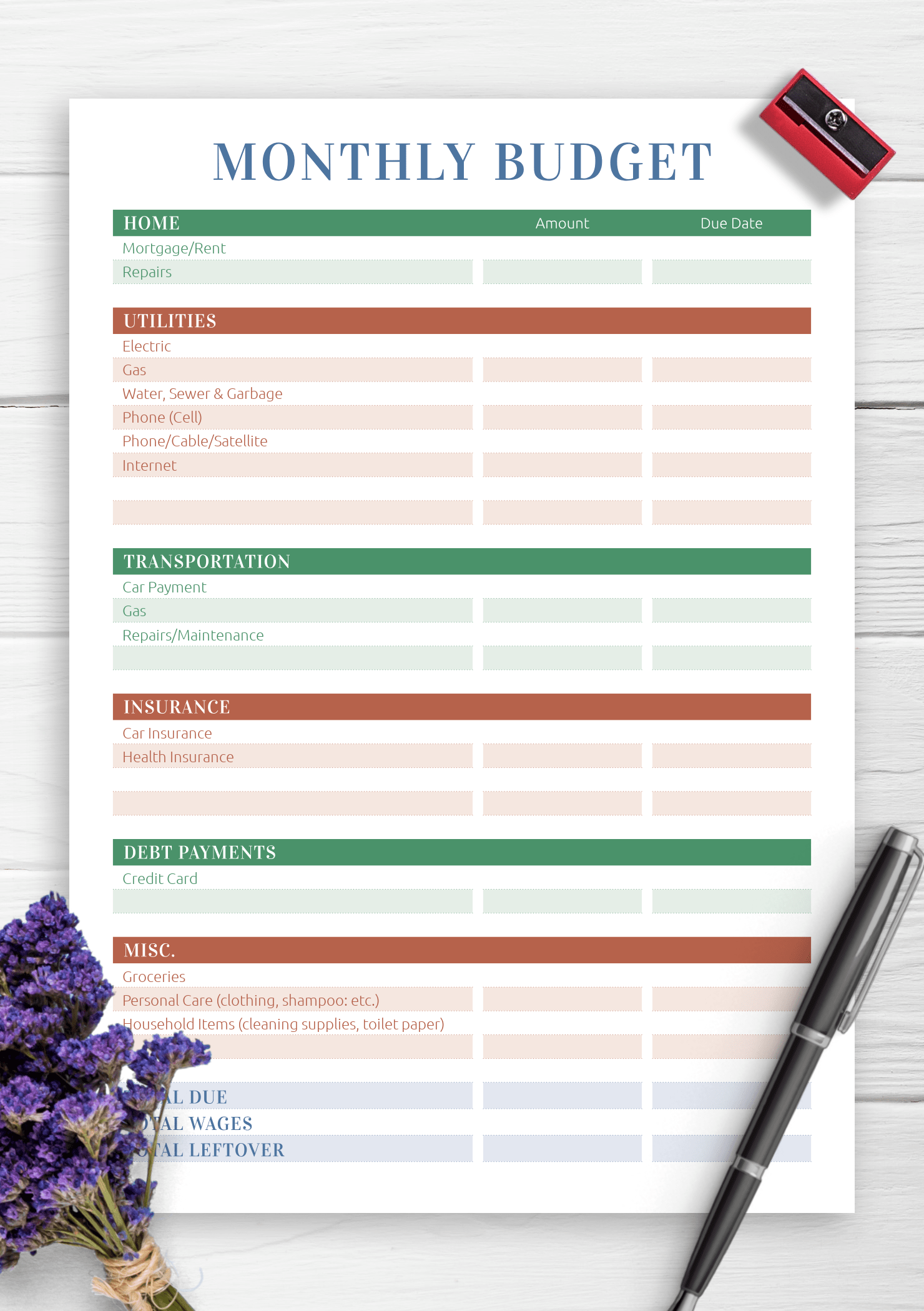 Remarkable Printable Monthly Budget