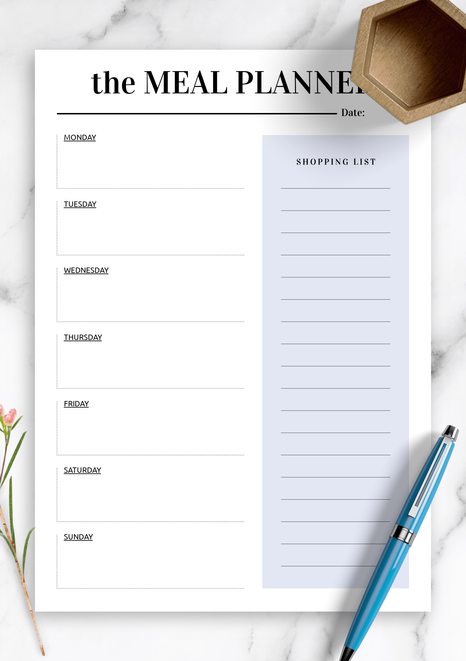 Download Printable Shopping Template For Meal Planning