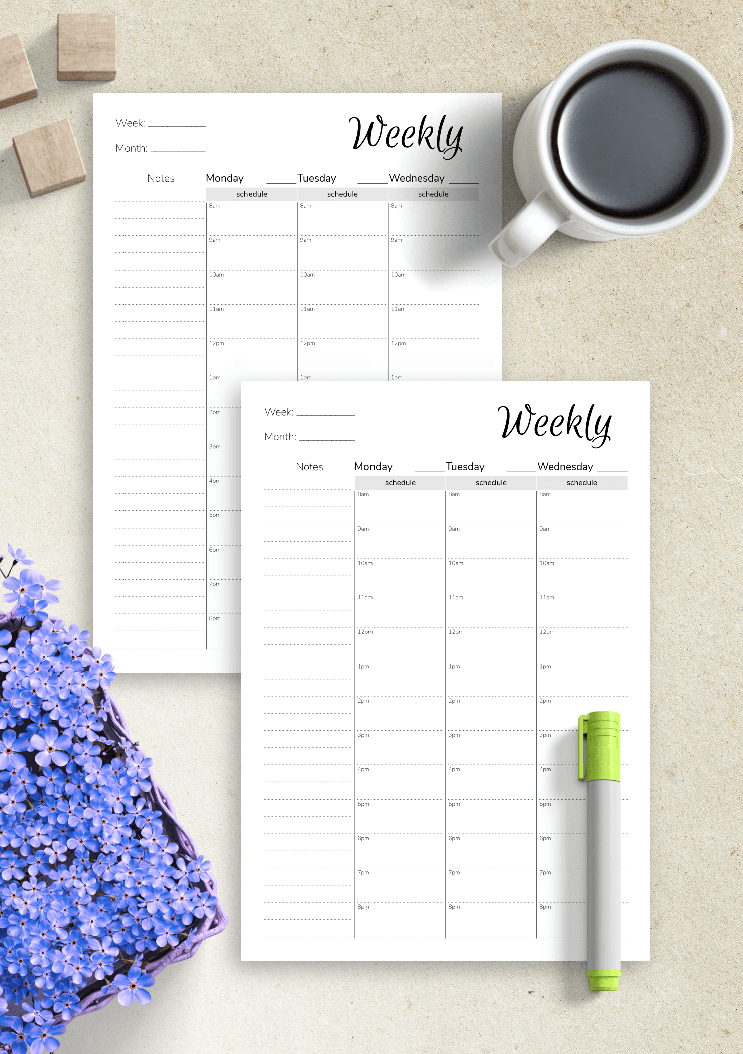 Download Printable Weekly Hourly Planner With Notes