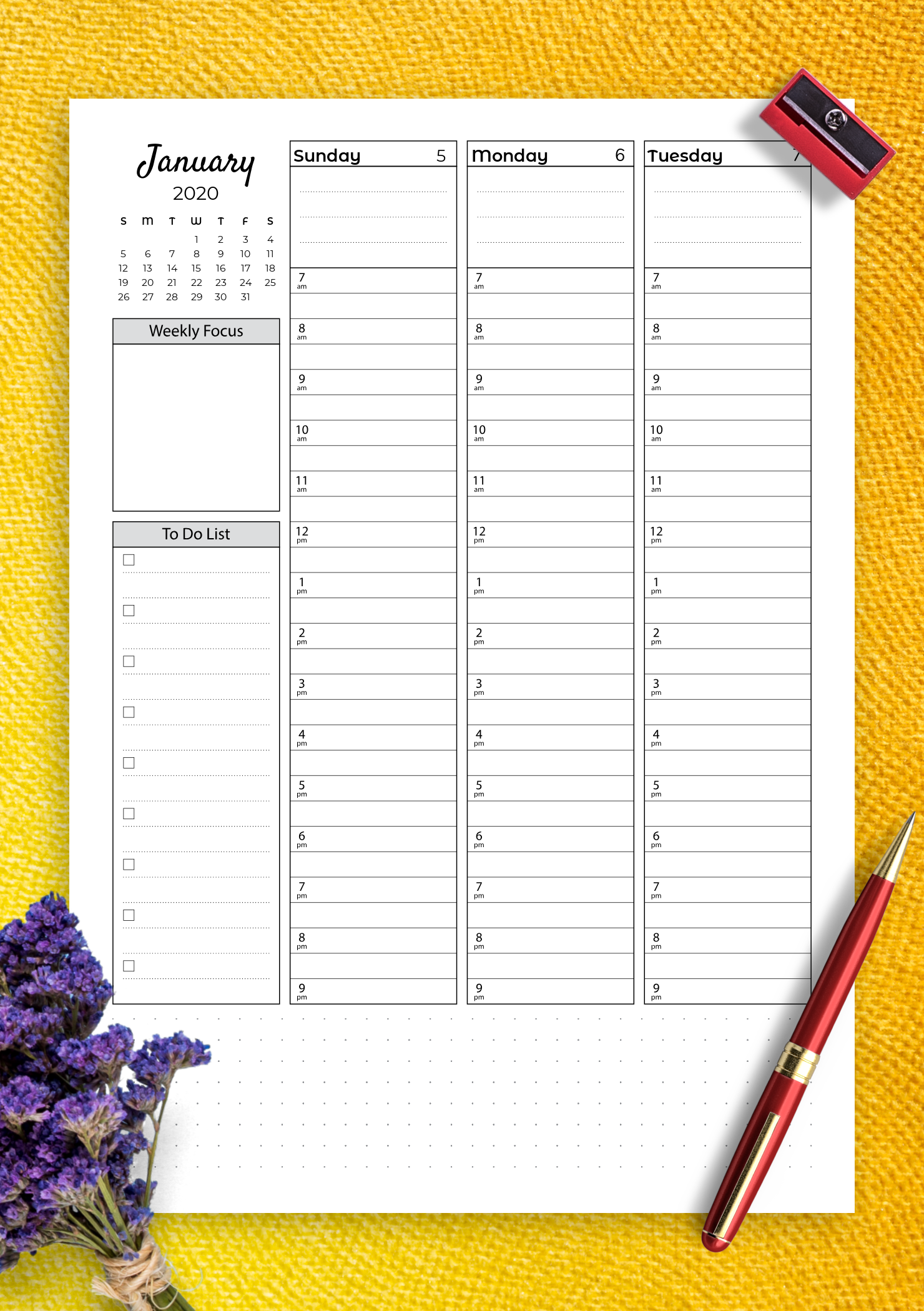Download Printable Weekly Hourly Planner With Todo List