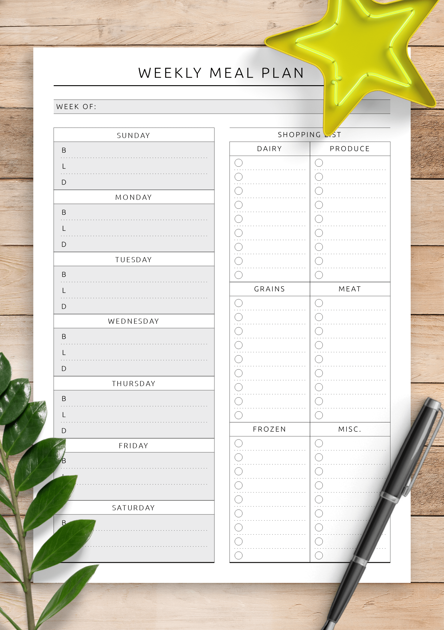 Download Printable Weekly Meal Plan With Shopping List