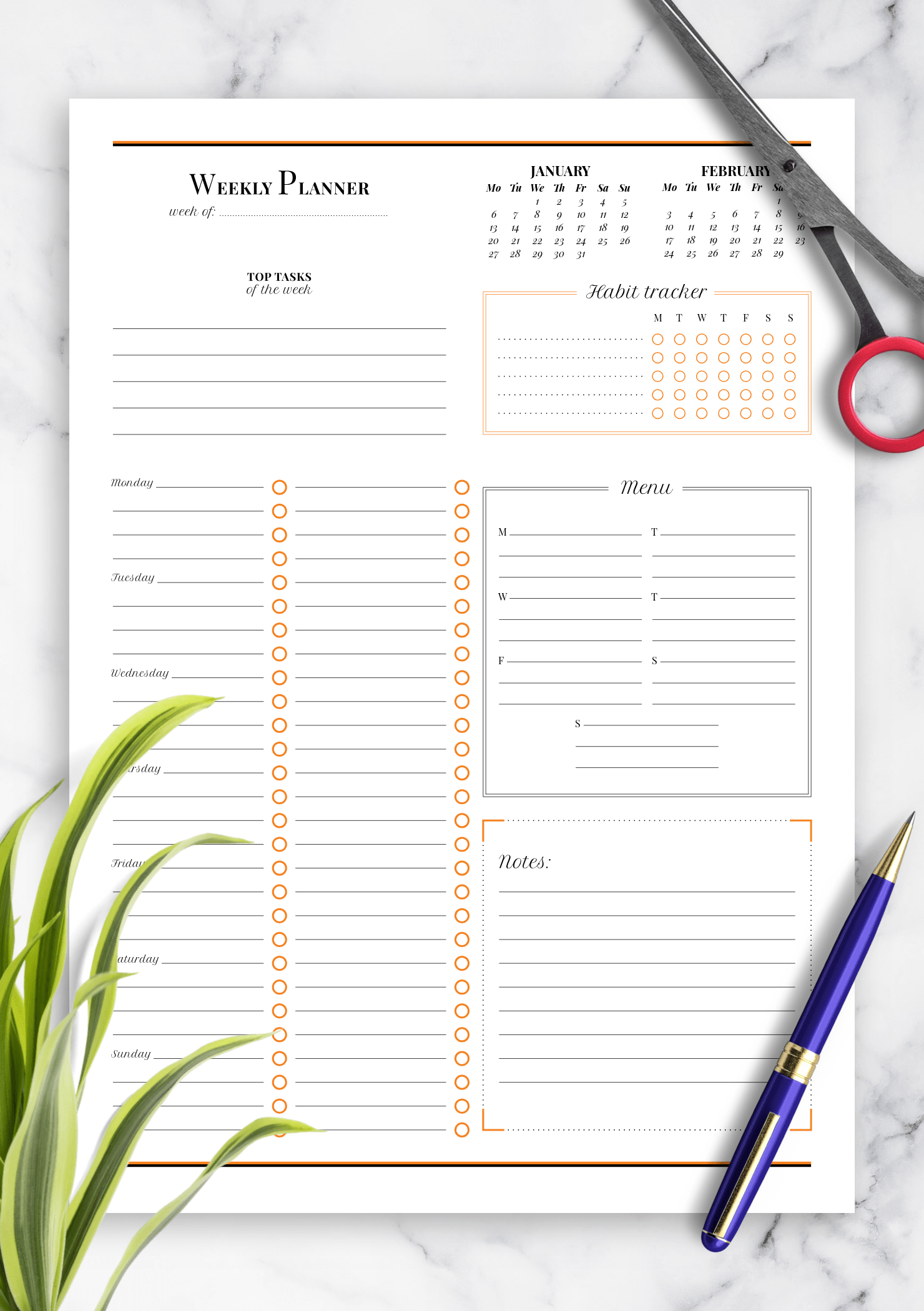 Download Printable Weekly Planner With Habit Tracker