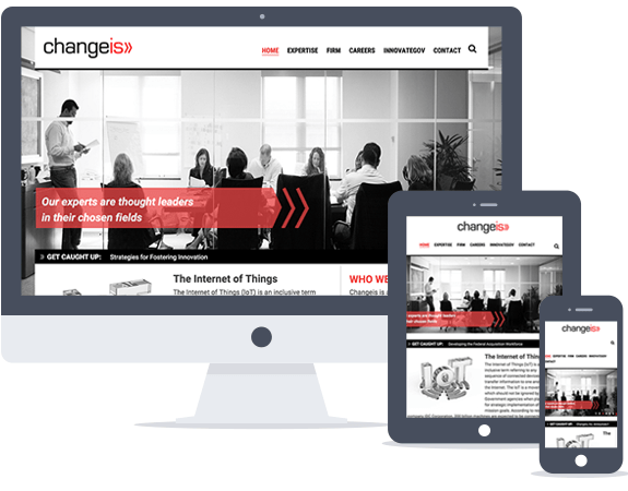 The Changeis website features a limited color palette and black and white imagery which allows their signature red to be the main focus.