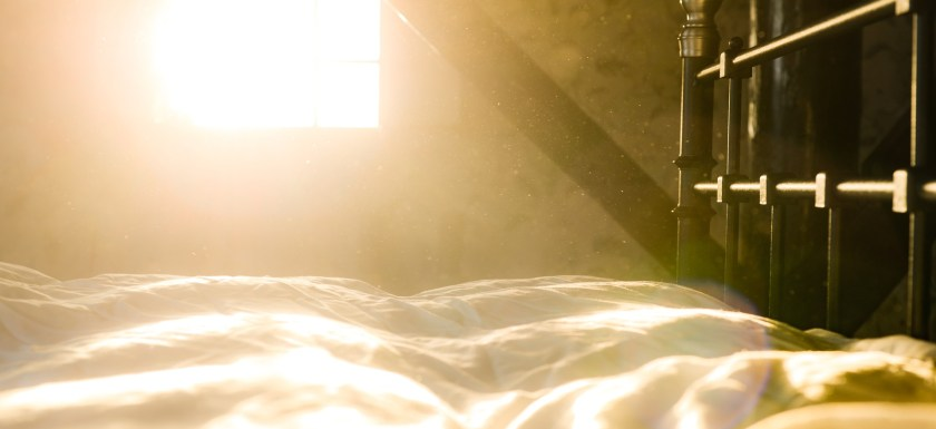 Golden sunlight on a brass bedstead and bare mattress. Photo.