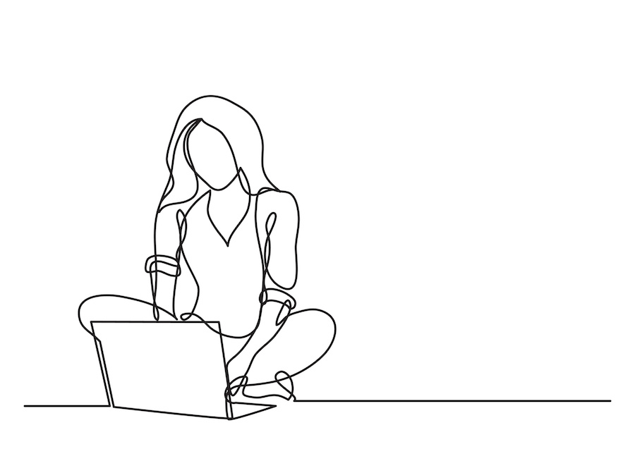 A continuous-line drawing of a cis woman sitting cross legged at a laptop.
