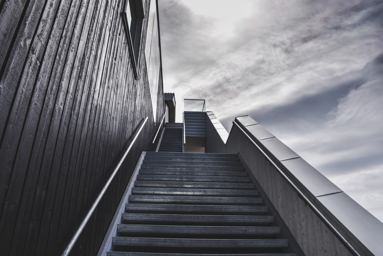 Flight of intimidating stairs leading upwards. Photo.