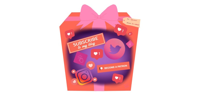 A pink-wrapped gift box filled with buttons and Instagram likes and other social media shares. Artwork.