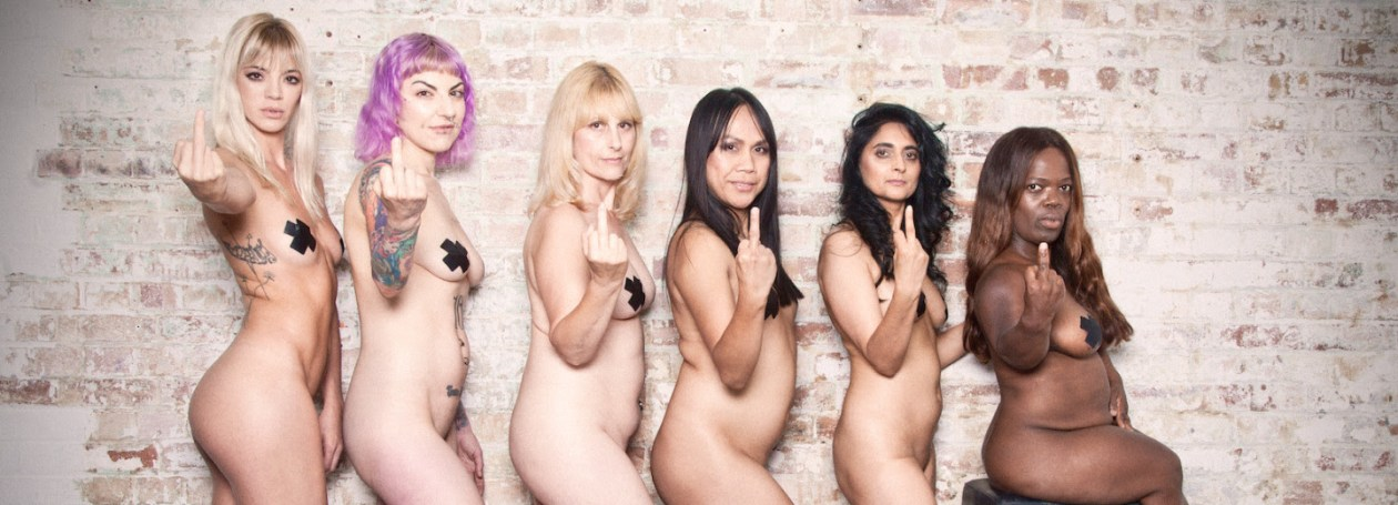 Six naked women of different heights and skin colours raise their middle fingers to anti-sex stigma.