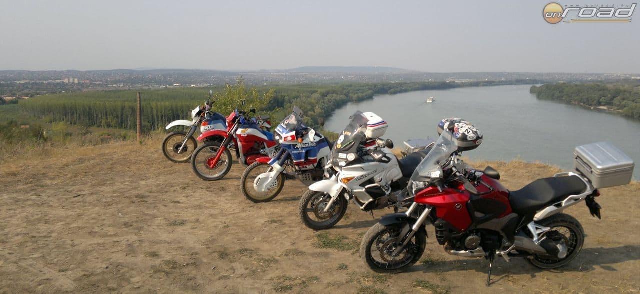 Balról jobbra a Honda túraenduroi (a teljesség igénye nélkül): XL600, XLV750R, XRV650 (Africa Twin), XL1000V, VFR1200X