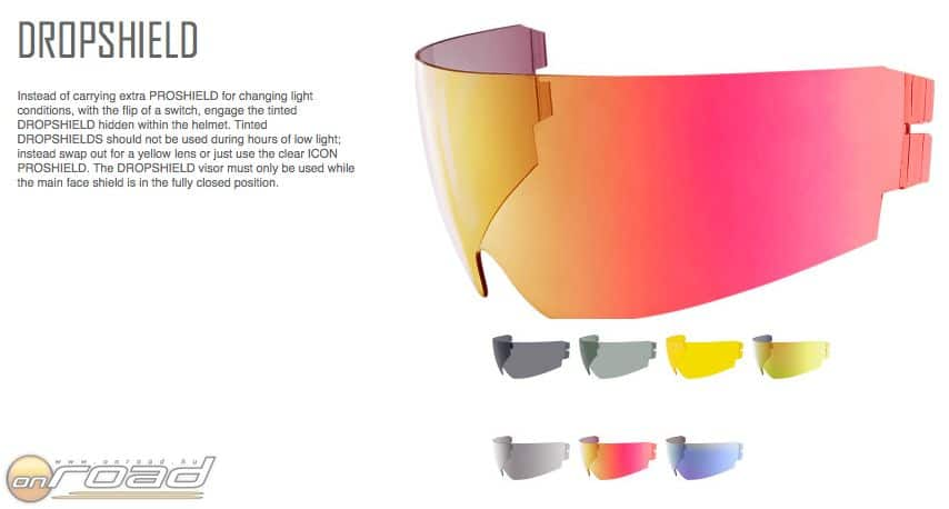 Hétféle belső szemüveg van hozzá, amelyek egy mozdulattal cserélhetők