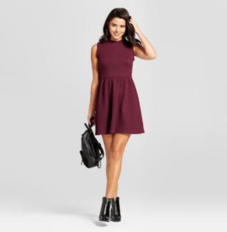 Women's Knit Jacquard Fit & Flare Dress, $24.99