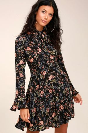 Picturesque Piece Black Floral Long Sleeve Tie-Neck Dress, $54