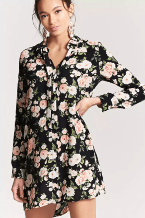 Floral Shirt Dress, $15
