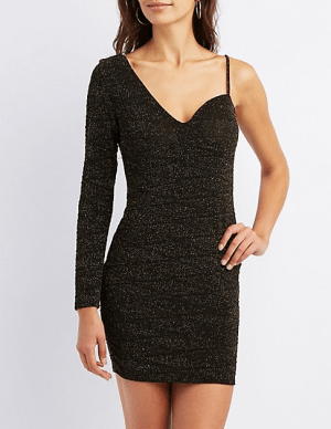 Glitter One Shoulder Bodycon Dress, $20