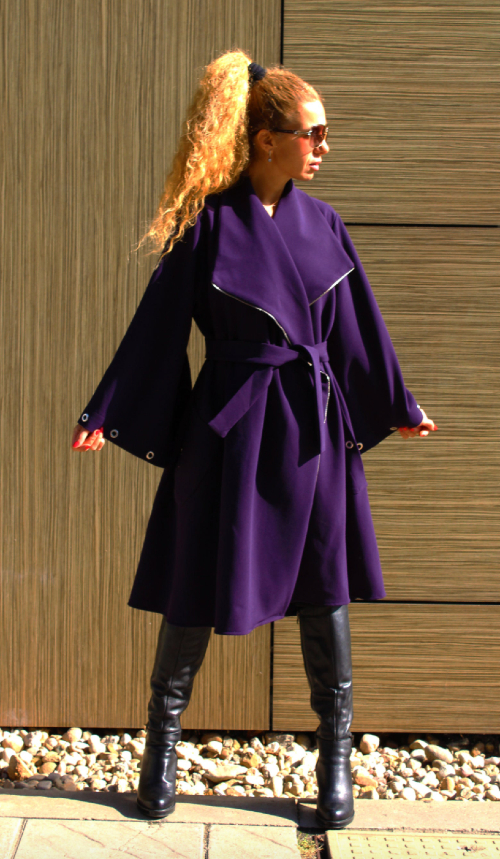 Purple asymmetrical coat as inauguration 2021 dupe
