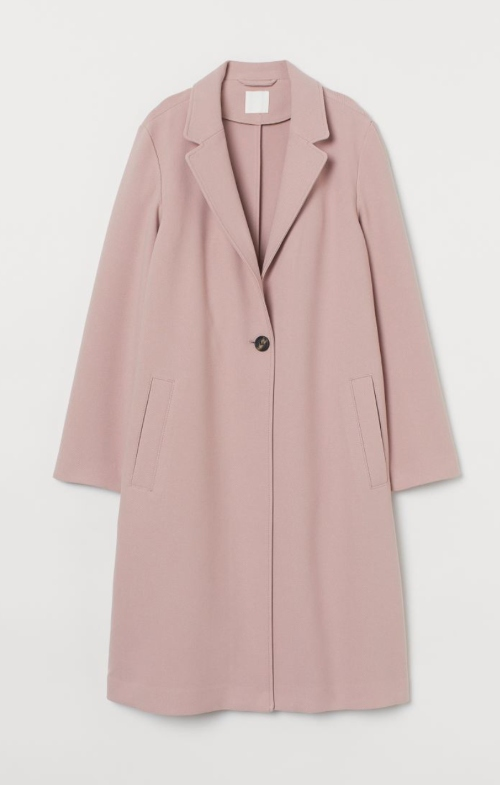 dusty pink single-breasted coat as inauguration 2021 dupe