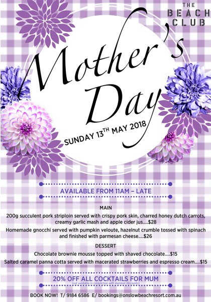 mothers day onslow karratha exmouth hedland pilbara north west