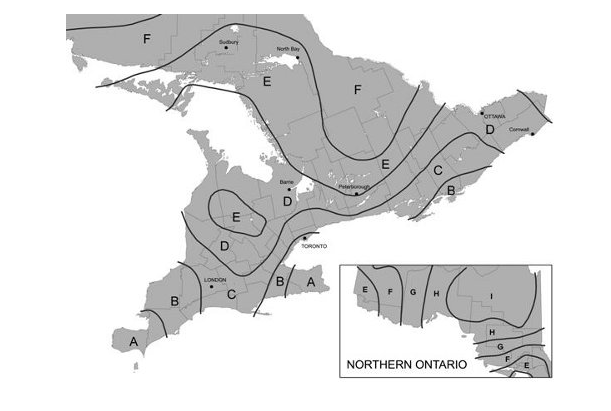 Climate Zone Map of Ontario