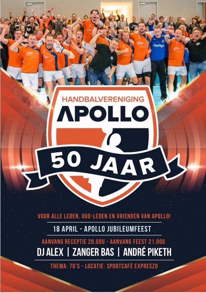 Poster voor jubileumfeest van handbalvereniging Apollo