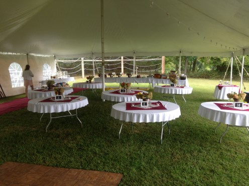 Tables were moved to make room for ceremony