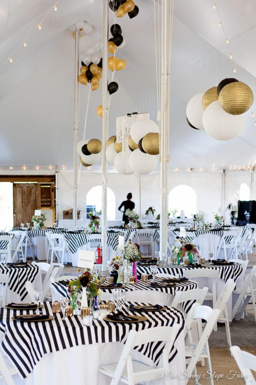 Black white gold wedding theme decorations-5