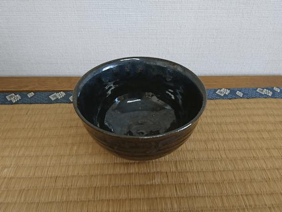 小鹿田焼 抹茶茶碗 黒 坂本浩二窯