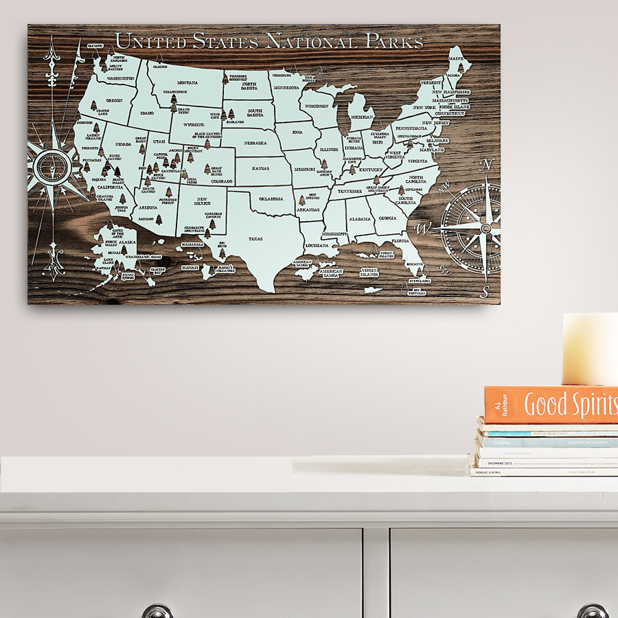 Arches national park is an incredible geological wonderland located in utah. United States National Parks Wooden Map Burnt Laser Carved Wall Art
