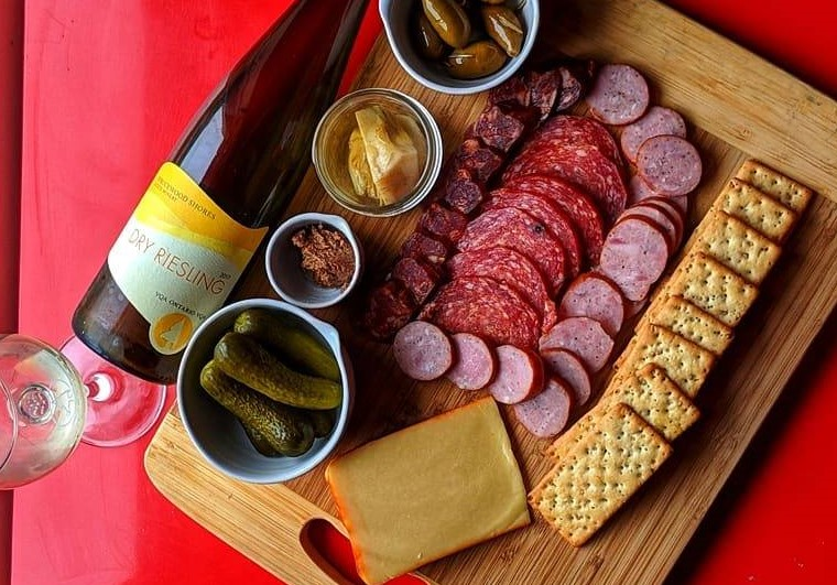Wine and charcuterie from Sprucewood Shores Estate Winery