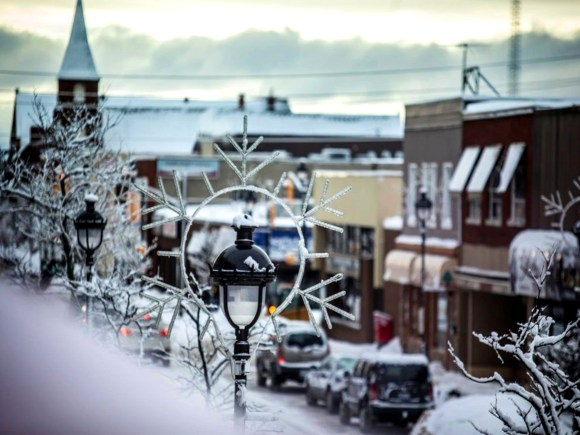 A lovely snowy scene of downtown North Bay.
