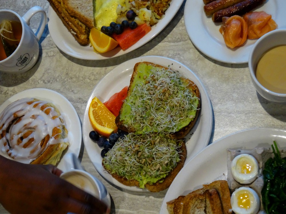 Avocado toast and dippy eggs at the Thornbury Bakery café
