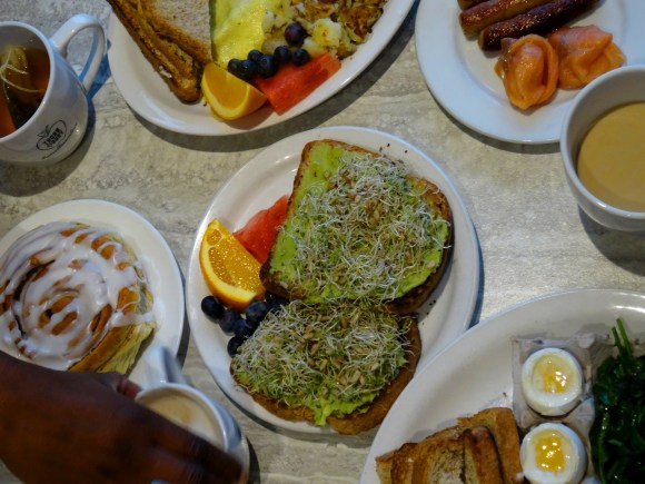 Avocado toast and dippy eggs at the Thornbury Bakery café