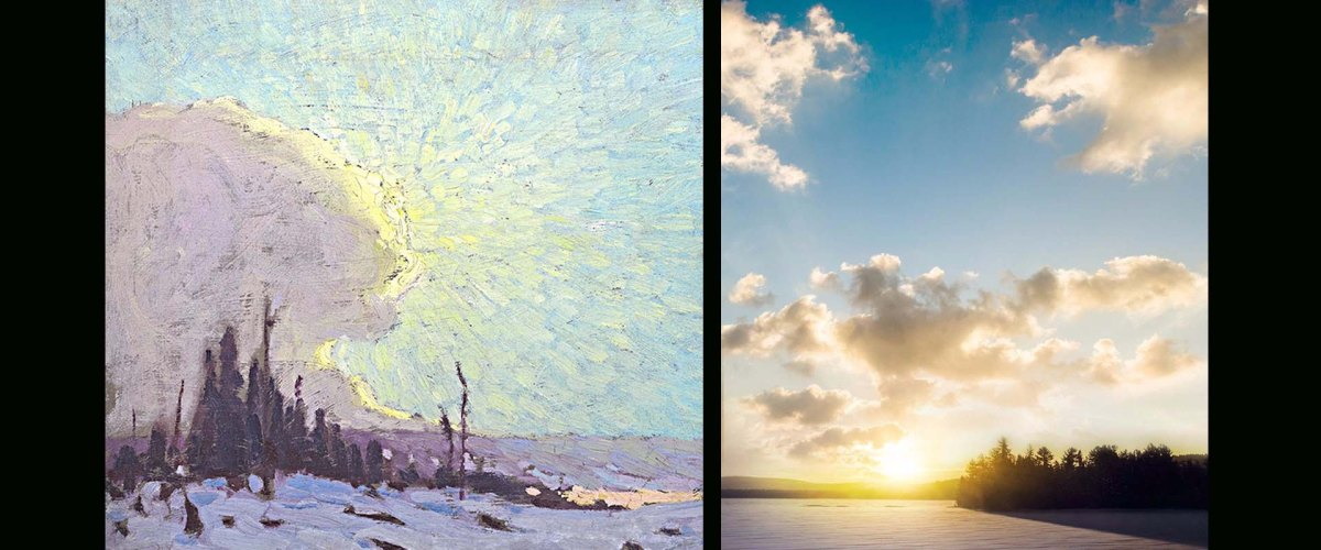 Image of painting and photo side by side