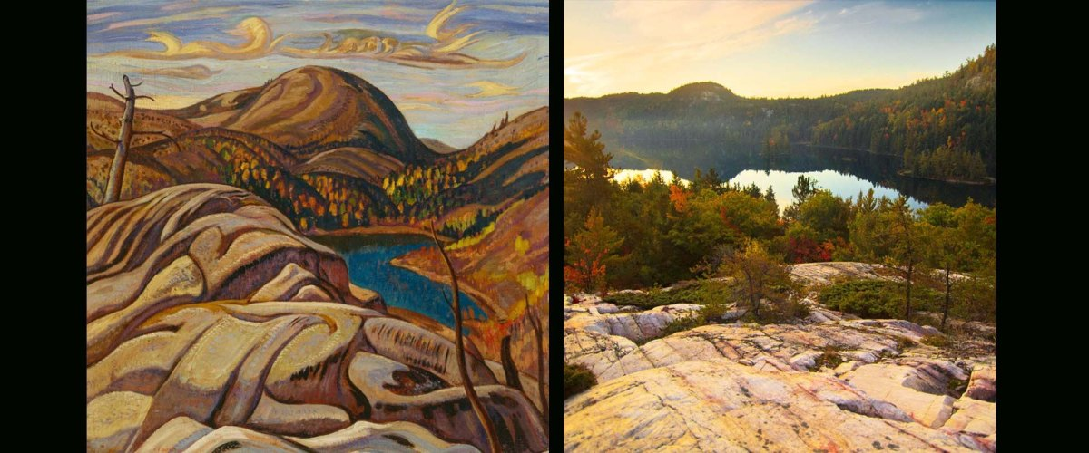 painting and photo of LaCloche Mountain range