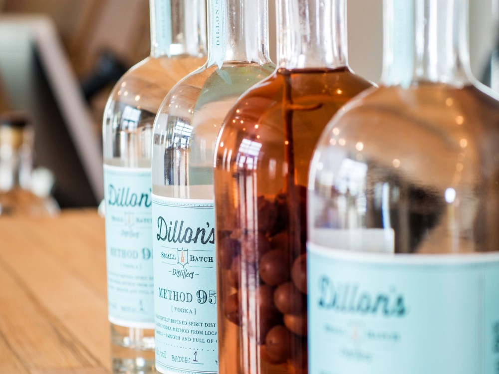 Row of Dillon's Small Batch Gin bottles
