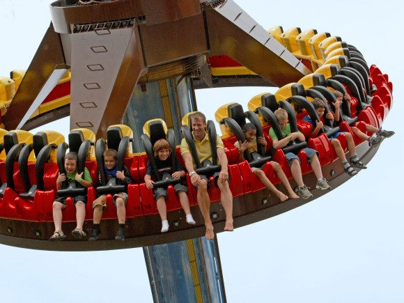 group of people on an amusement park ride