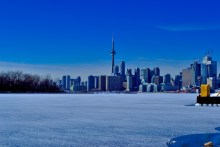Toronto skyline in the dept of a winter freeze.