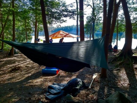 My accommodations during the trip, a hammock.
