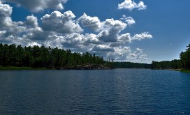 Views of the cliffs over Gut lake.