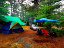 The campsite all tarped over and ready for the storm.