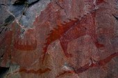 A collection of ancient rock drawings.