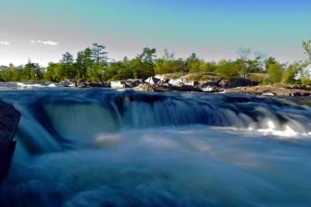Burleigh Falls cascade down the rapids.