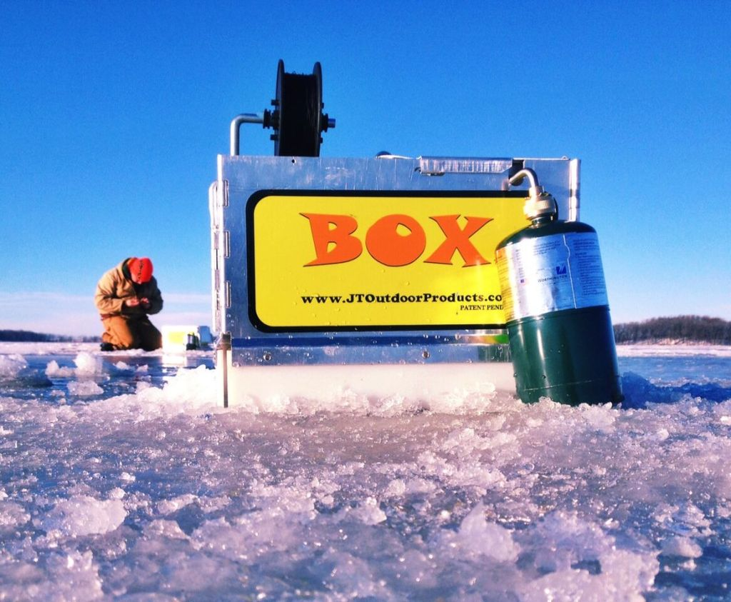 JT OUTDOOR PRODUCTS HOT-BOX is designed to be corrosion resistant, lightweight, and simple for operation and transportation. It is a tested Ice Fishing System, keeps hole free of ice thereby increasing your catch rate.