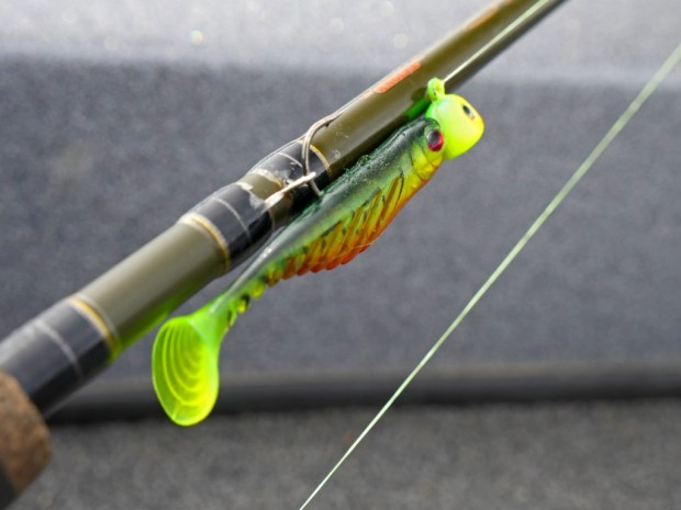 When working this lure, you will want to use a heavier jig than you would with live bait, typically 1/4 or 3/8 ounce. This gives you the ability to get the action you need to get the tail to work the way you want it to.