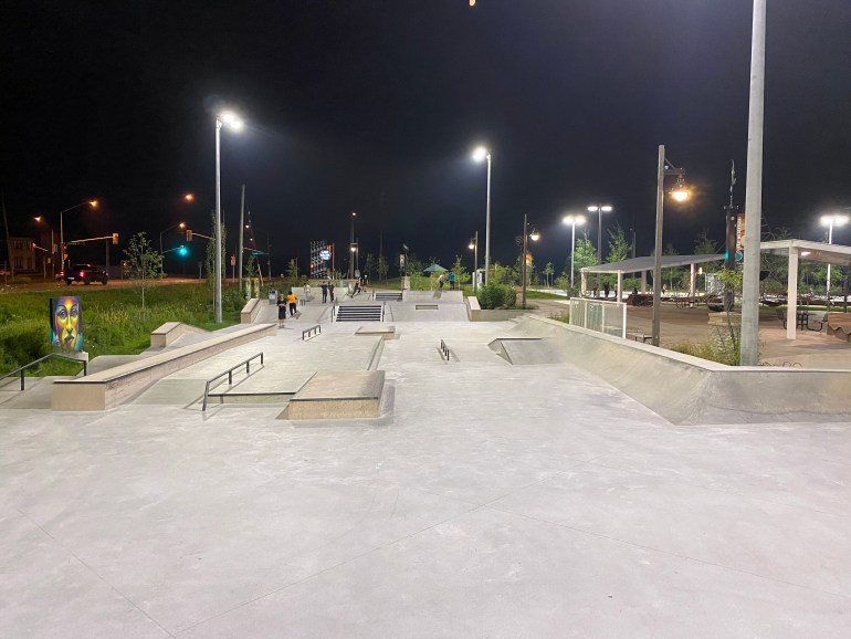 Lake Wilcox street course at night with lights
